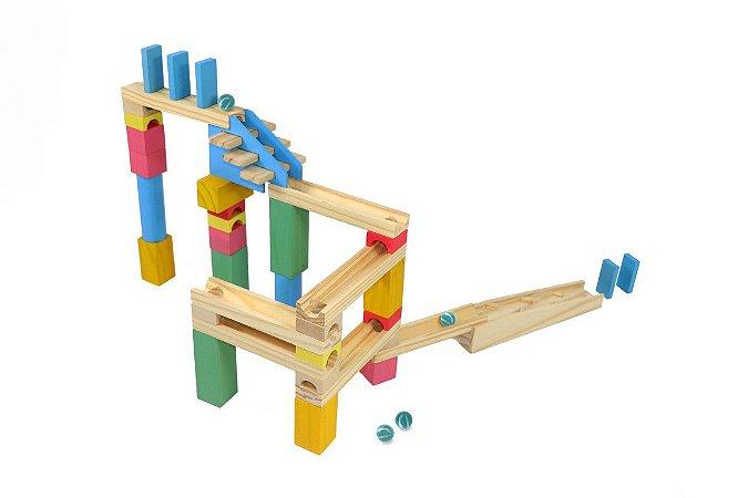 Brinquedo de Madeira - Corrida de Bolinha Master - 40 peças