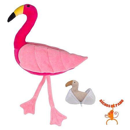 Bicho de Pelúcia - Flamingo Grávida com 1 Filhote