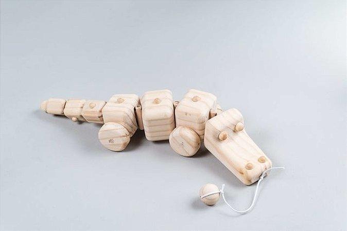 Brinquedo de Puxar - Jacaré de madeira pinus