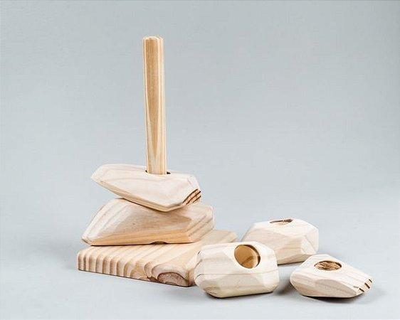 Encaixe - Pedra de madeira pinus