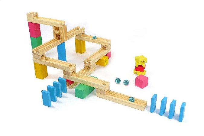 Brinquedo de Madeira - Corrida de bolinha - 35 peças