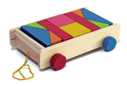 Brinquedo de Madeira - Carrinho de Puxar Blocos Coloridos - 10 peças