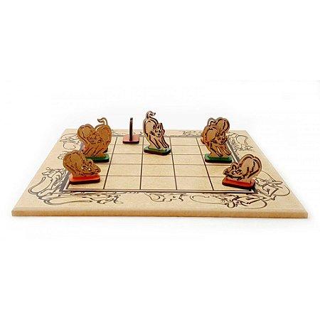 Jogo de Tabuleiro de Madeira - Gato e Rato