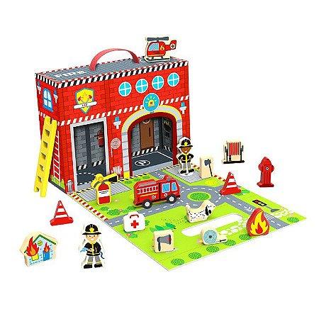 Caixa Divertida Bombeiros - Brinquedo Educativo de Madeira