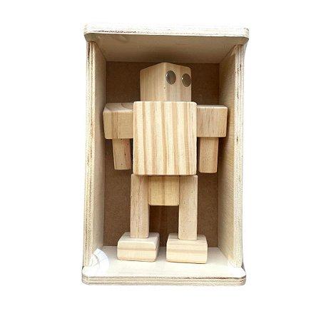 Boneco de madeira - Robô Zé