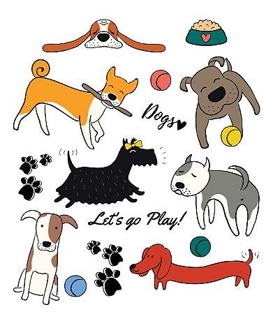 Tatuagem temporária - Pets Let s go play