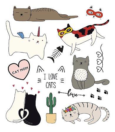 Tatuagem temporária - Pets I love Cats