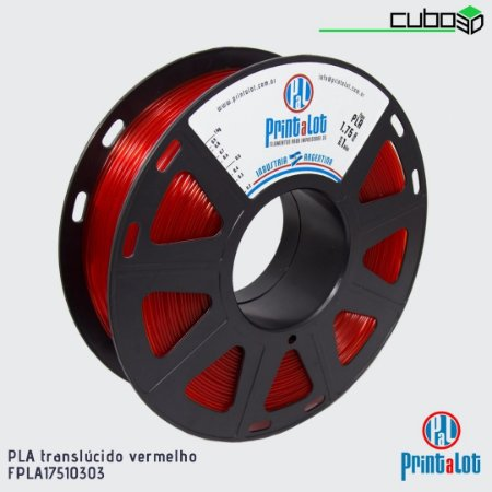 Filamento PLA PrintaLot Vermelho Translúcido