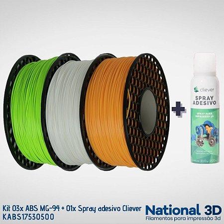 Kit 03x Filamentos ABS MG-94 National3D + 01x Spray adesivo Cliever