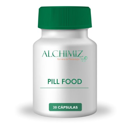 Pill Food 30 cápsulas: Colágeno 25mg Biotina 0,2mg Cisteína 80mg Cistina 25mg Pantotenato de Cálcio 25mg Vitamina B6 10mg Vitamina B2 1mg Vitamina E 3mg Metionina 200mg