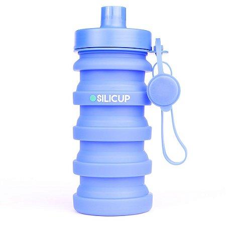 Garrafa Squeeze Retrátil de Silicone 400 ml - Azul