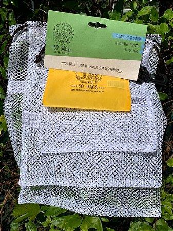 sacos reutilizáveis Sobags Vai às compras - kit com 3 bags