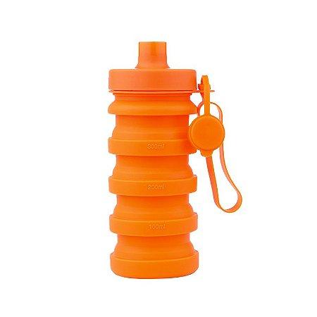 Garrafa Squeeze Retrátil de Silicone 400 ml - Laranja