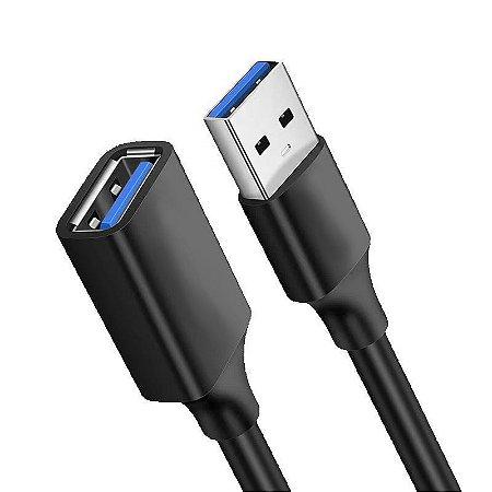 Cabo USB Extensor 3.0 2M Preto Macho x Fêmea