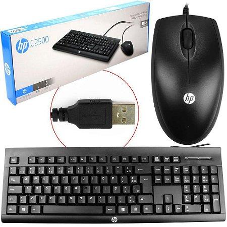 Kit Teclado e Mouse USB Wired C2500 Preto HP