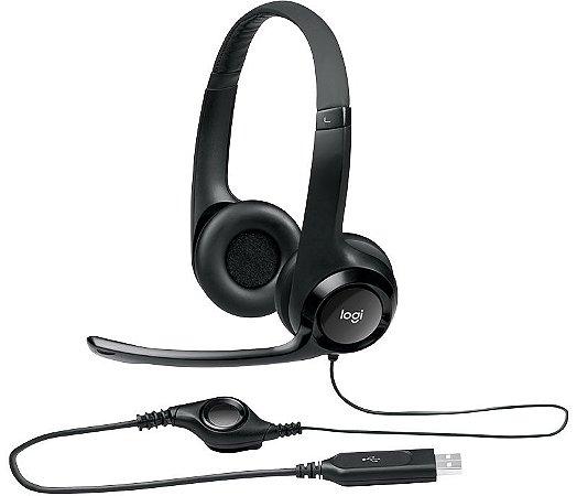 Headset Logitech H390 Áudio Digital em Couro USB Preto