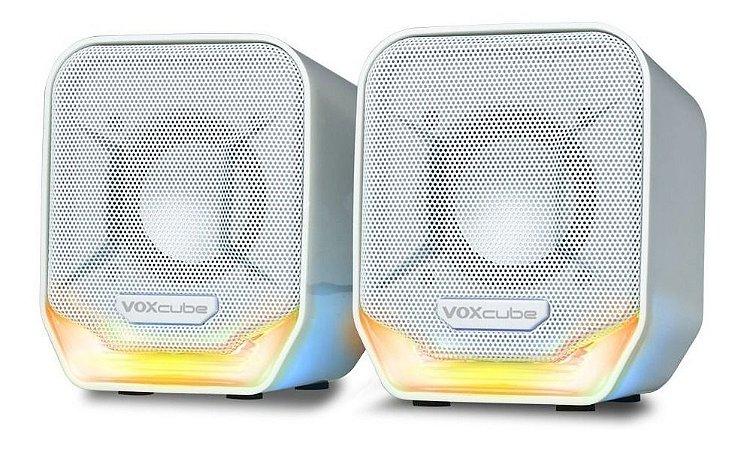 Caixa de Som Branca/Laranja PC/Notebook P2 Voxcube RMS 8W VC-D360 Infokit