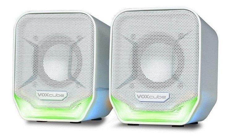 Caixa de Som Branca/Verde PC/Notebook P2 Voxcube RMS 8W VC-D360 Infokit