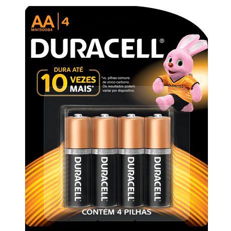 Pilha Duracell Alcalina MN1500B4 AA 4 Unidades