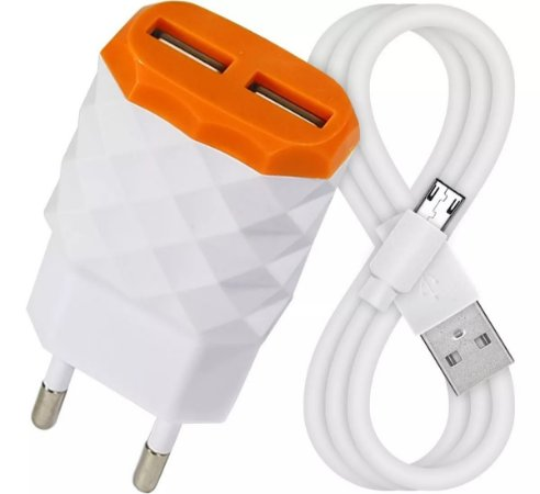 Carregador Micro USB Para Celular 2.1A + 2 Entrada USB