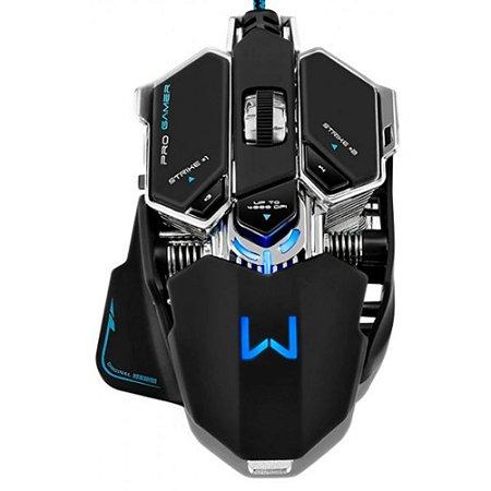 Mouse Gamer Warrior USB 4000DPI + Mouse PAD Preto/Azul MO246