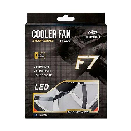 Cooler Gabinete C3Tech 120x120mm FT-L130BL LED Vermelho Storm Series