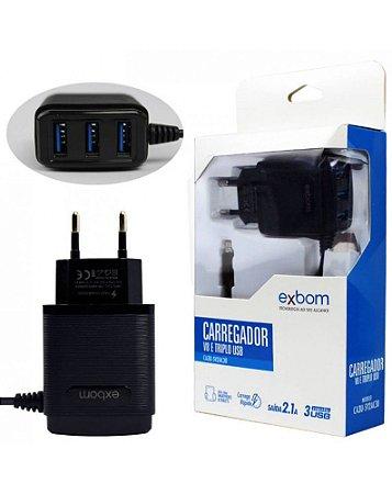 Carregador Micro USB Triplo USB para Celular 2.1A CA3U5V2AC30 Exbom