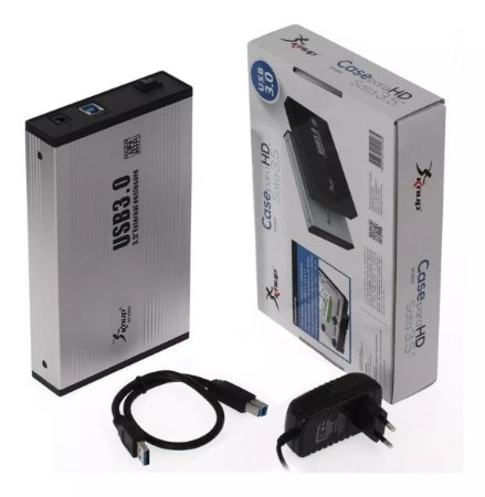 "Case Externa HD 3.5"" USB 3.0 Alumínio c/Fonte KP-HD002 Knup"