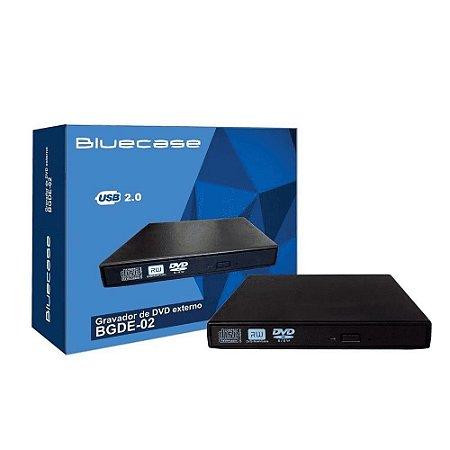 Gravador Externo de DVD Slim USB 2.0 BGDE02CASE Bluecase