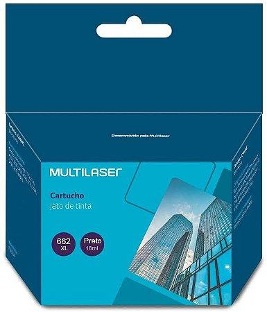 Cartucho Compatível HP 662XL Preto 18m CO662P Multilaser