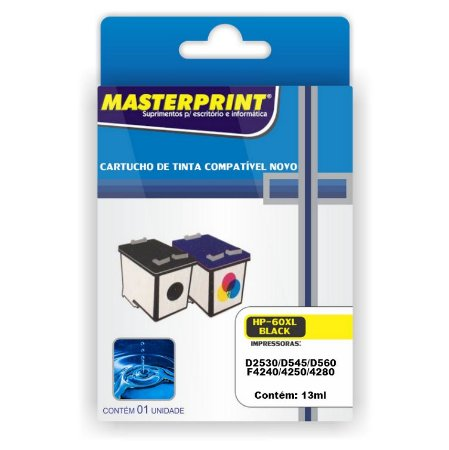 Cartucho Compatível HP 60XL Preto 13ml Masterprint