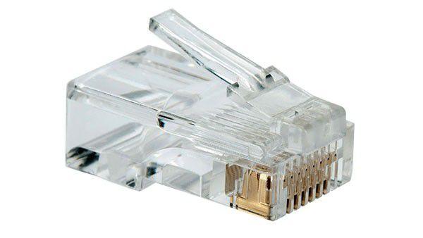 100 Unidades Conector RJ45 Macho CAT5 Cristal Fast Unidade