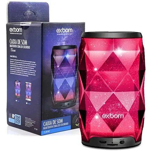 Caixa de Som Bluetooth Galáxia 8W RMS LED RGB c/Microfone CS-M44BT Exbom