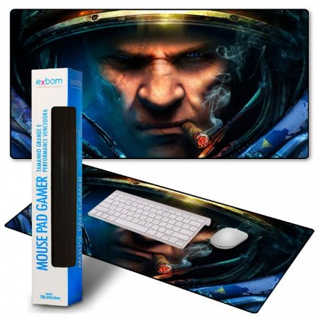 Mouse PAD Gamer Extra Grande Starcraft II 900x400mm Emborrachado MP-9040A Exbom