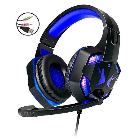 Headset Gamer Azul 5.1 P2 LED c/Microfone HF-G600 Exbom