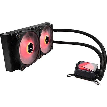 Water Cooler Algor Dual Fan 240MM Intel/AMD LED Vermelho MyMax
