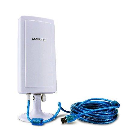 Adaptador USB Wireless Antena Outdoor 14DBi Cabo 4.5m Lafalink