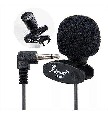 Microfone de Lapela P2 Estéreo Profissional c/Presilha Espuma KP-911 Knup
