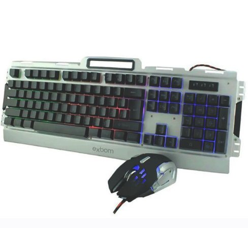 KIT Teclado + Mouse Gamer Semi-mecânico USB LED Rainbow Construção em Metal
