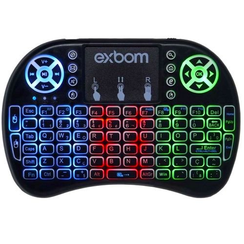 Mini Teclado Wireless US Air Mouse c/LED e Touch Celular PC Android SmartTV BK-BTi8LED Exbom