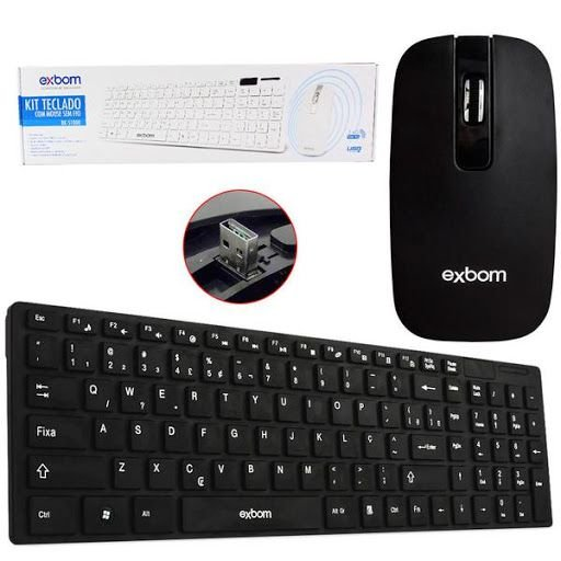 KIT Teclado + Mouse Sem Fio USB BK-S1000 Exbom