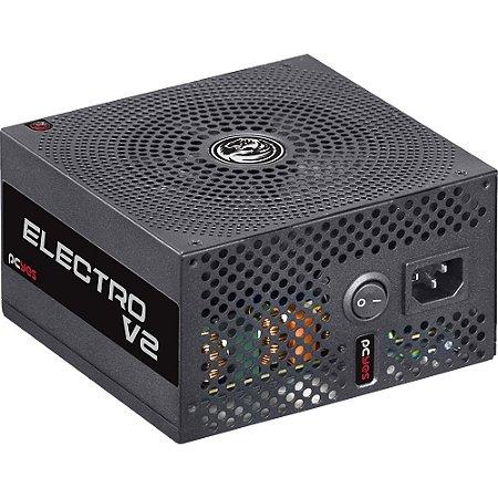 FONTE 500W REAL ELECTRO V2 80 PLUS White CABOS PRETOS PCYES ELV2WHPTO500W