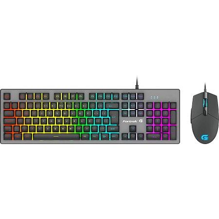 KIT Teclado + Mouse Semi Mecânico USB Gamer LED Rainbow BK-G550 Exbom