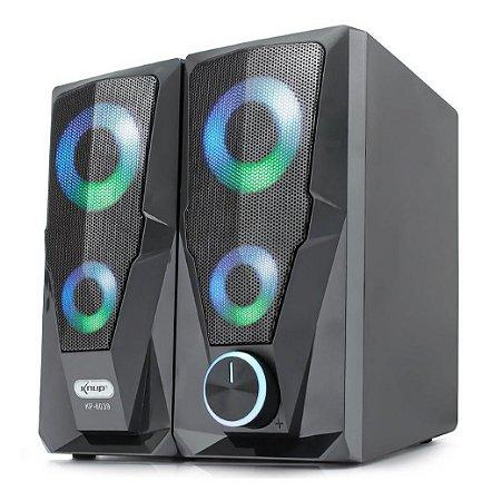 Caixa de Som Gamer 10W RMS USB P2 RGB Rainbow KP-6039 Knup