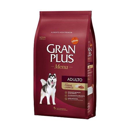 Ração Seca GranPlus Menu Affinity Adulto Raças Médias e Grandes Carne e Arroz para Cães Adultos