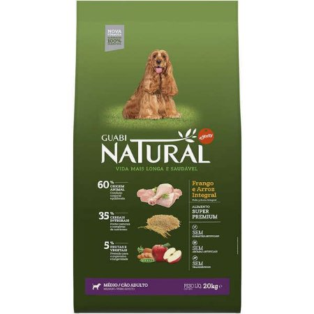 Ração Affinity Guabi Natural Frango e Arroz Integral para Cães Adultos Raças Média 20KG