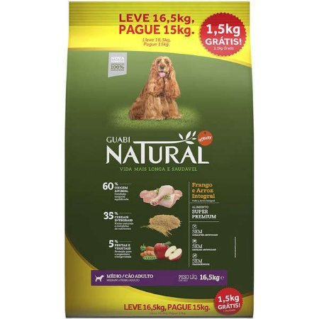 Ração Affinity Guabi Natural Frango e Arroz Integral para Cães Adultos Raças Média Promoção 16Kg