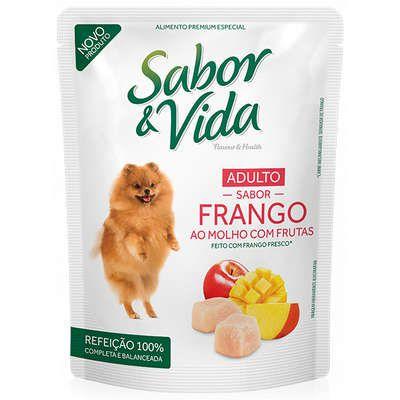 Ração Guabi Sabor e Vida Sachê Frango ao Molho com Frutas para Cães Adultos 100Gr