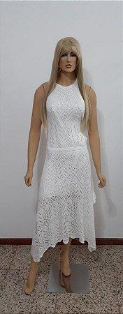 Vestido de tricô middi frente única