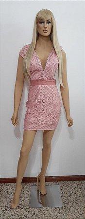 Vestido tecido plano manga curta rendado